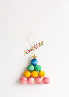 Rainbow wooden bead tree ornament