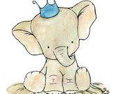 Nursery Art -- Royal Elephant.