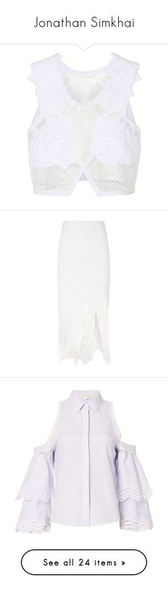 """Jonathan Simkhai"" by kelseylauren ❤ liked on Polyvore featuring tops, crop top, white, white mesh top, jonathan simkhai, mesh top, mesh crop top, skirts, white mid length skirt and white skirt"