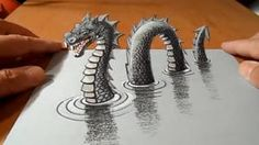 Drawing Techniques How to Draw Monster, Drawing Loch Ness Monster, By Vamos – Hildur.O - Video by Drawing Art How to draw Loch Ness Monster. Trick art dragon on paper. The legend is back! Anamorphic illusion a Loch Ne 3d Pencil Drawings, 3d Art Drawing, Love Drawings, Easy Drawings, Drawing Ideas, Easy 3d Drawing, Beginner Drawing, Awesome Drawings, Paper Drawing