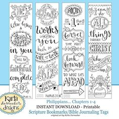 NEW! PHILIPPIANS Bible Journaling Templates, Tracers, Color Your Own Bookmarks, INSTANT download