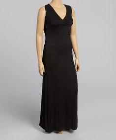 Another great find on #zulily! Black Surplice Maxi Dress - Plus by Poliana Plus #zulilyfinds