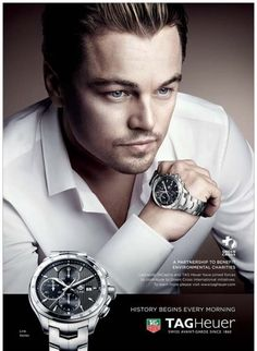 Example of muted colors—almost sepia—while keeping the eyes blue. An imaging technique wonderfully executed! Leonardo Dicaprio for TAG Heuer Ad Best Watches For Men, Cool Watches, Best Perfume For Men, Watch Ad, Men Watch, Watch Blog, Online Watch Store, Tag Heuer, Muted Colors