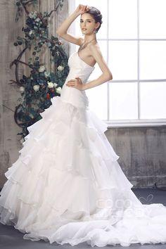 Graceful Princess Strapless Dropped Waist Chapel Train Organza Wedding Dress CWLT13027#Cocomelody#weddingdresses#bridalgown#