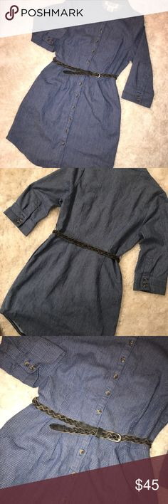 """BB DAKOTA """"Mardi"""" Striped Dress in """"Deep Water"""" NWOT!  - Button Front Closure  - Pleat Front - SIDE SLIT POCKETS (HELLO) ❤️ - Belted Waist  Wear as a tunic or AWESOME paired with booties or boots for spring! BB Dakota Dresses"""