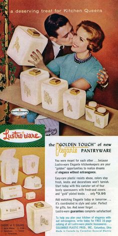 "Domestic Diva •~• vintage Lustro-ware advertisement, 1950s... ""a deserving treat for Kitchen Queens"""