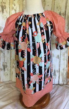 Girls Black and White Stripe Dress, Girls Floral Print Dress, Girls Christmas Dress, Girls Christmas Outfit, Girls Birthday Dress
