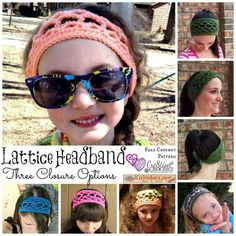 FREE Crochet Pattern ~ Lattice Headband with three closure options #kaleidoscopearts&gifts #cre8tioncrochet