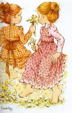 Single Sarah Kay girls with flowers swap playing card Sarah Key, Vintage Cards, Vintage Images, Mary May, Holly Hobbie, Australian Artists, Sweet Memories, Illustrations, Cute Illustration