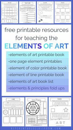 Use these free printable elements of art worksheets to teach the basics of art the easy way. Printable books, one page printables about each element, a book list, and one hundred + free lessons reinforce the elements of art concepts! Elements Of Art Line, Elements And Principles, Elements Of Color, Elements Of Design, Art Lessons For Kids, Art Lessons Elementary, Middle School Art, Art School, High School