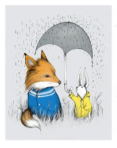 """As the rain comes down here in the Pacific Northwest, I'm thinking about this painting by my friend Catherine. She writes, """"Seek no return is about the unlikely friendship between these forrest critters. Giving without expectations, even if it means putting yourself in serious danger. Silly rabbit."""" :: Seek No Return Print by Catherine Lazar Odell"""