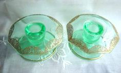 Green Depression Candle Holders - Paden City Glass