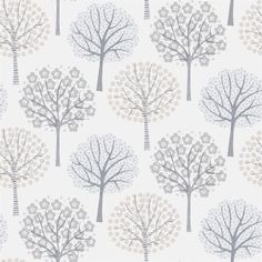 A playful design featuring trees in various colorways. Ideal as wallpaper for a children's room or in a hall or living room. Show collection Decorama EasyUp 16 Wallpaper Fofos, Wall Wallpaper, Retro Tapet, Textures Patterns, Print Patterns, Flower Doodles, Tree Silhouette, Beautiful Patterns, Pattern Paper