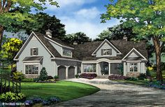 Front ColorThis home plan offers an Old World, European exterior. The modern floorplan features a single dining area, ideal for rear views. The great room, kitchen and dining room are open for exceptional traffic flow.