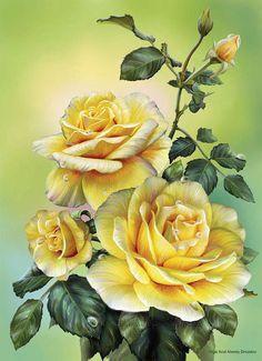 Розы желтые - Схемы вышивки - SvetVash - Авторы - Портал «Вышивка крестом»