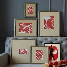 Gallery frames with mat and beautiful fabric to add pops of color.