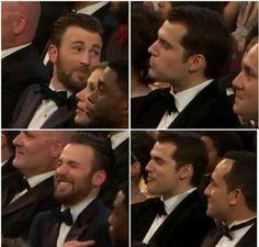 Henry Cavill and Chris Evans #funnymen Oscar 2016