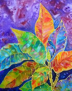 Silk Painting Croton Tropical Leaves 8x10 print  from Kauai Hawaii purple orange blue