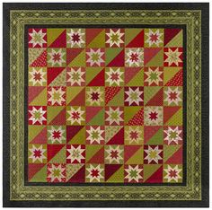 Evangeline from Red Crinoline Quilts in reds and greens Sampler Quilts, Star Quilts, Quilt Sets, Bohemian Rug, Projects To Try, Quilting, Xmas, Blanket, Future