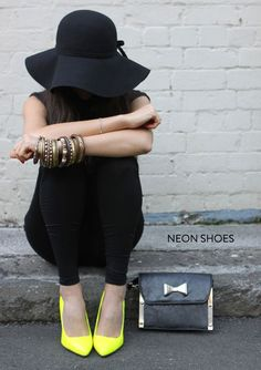 neon shoes with all black