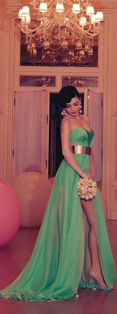 I would actually want this for my bridesmaids or any other dress Green Evening Gown with chunky, gold belt just different color than green