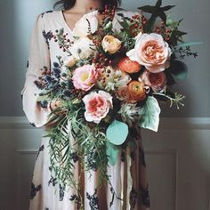 PEach Toned Wedding Bouqet