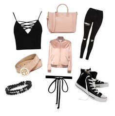 """Casual"" by keilyfletcher on Polyvore featuring Topshop, GUESS, Yves Saint Laurent, Converse, Joomi Lim and Boohoo"