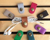 8 Mixed Color Earphone cable organizer Set #2,Genuine leather earphone organizer