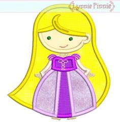 Cutie PRINCESS as RAPUNZEL (2)  Applique 4x4 5x7 6x10 Machine Embroidery Design  INSTANT Download