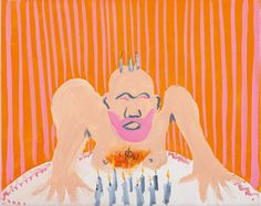 Tala Madani (Iranian, b. 1981), Orange Burn, 2006. Oil on canvas, 24.4 x 30.2 cm.