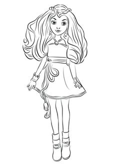 Evie Descendants 2 Coloring Page Free Movie Coloring Pages