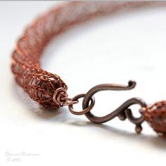 Pumpkin Orange Crochet Necklace Cooper Colored Wire by SarahRobinL, €45.00 #jewelry #necklace #pendant