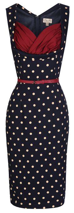 8244be3a Lindy Bop 'Vanessa' Vintage 50's Cute Low Cut Polka Dot Wiggle Dress (XL