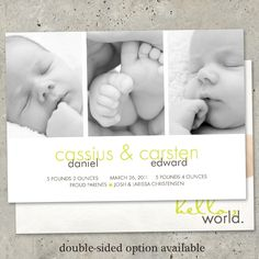 "birth announcement baby boy or girl twins modern -  ""Modern Triptych"". $64.00, via Etsy."