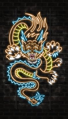Tiger Dragon Illustration for poster & business card on Behance Tiger Dragon, Dragon Art, Neon Wallpaper, Wallpaper Backgrounds, Dragon Wallpaper Iphone, Photo Wall Collage, Picture Wall, Neon Sign Art, Neon Signs