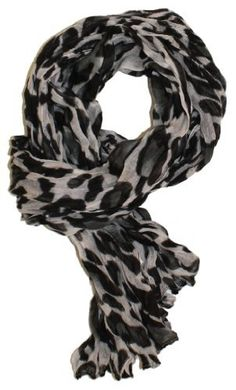 LibbySue-Animal Print Crinkle Leopard Scarf Lightweight in Black and White LibbySue. $12.99
