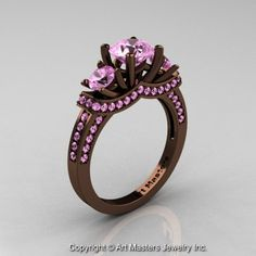 Exclusive French 14K Chocolate Brown Gold Three Stone Light Pink Sapphire Engagement Ring R182-14KBRGLPS