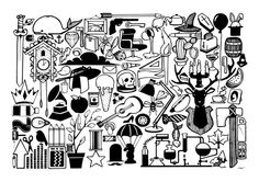 Print Illustration Black and White Random Objects A3 by SketchInc, £19.00