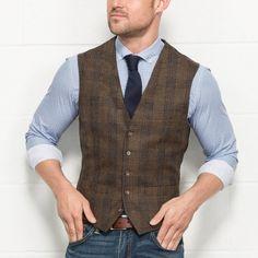 FELLINI TAILORED Brown Heritage Check Tweed Waistcoat // Slater XMASWEAR