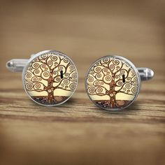 18mm Tree Cufflinks Mens Accessory Glass by ThePendantQueen (Accessories, Cuff Links, Men, mens accessory, glass cufflinks, picture cufflinks, brown cufflinks, black, mens wedding, wedding gifts, grooms cufflink, tree of life, gustav klimt, tree cufflinks, 18mm cufflinks, silver cufflinks)