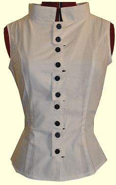 White Cotton Mod Collar Blouse from Retroscope Fashions