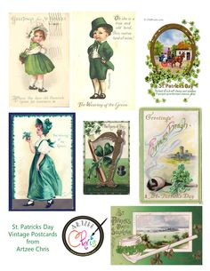 St. Patricks Day Vintage Postcards for Scrapbooking and paper crafting