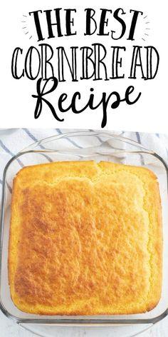 cornbread recipe Cornbread Recipe From Scratch, Southern Cornbread Recipe, Homemade Cornbread, Best Savory Cornbread Recipe, Healthy Cornbread, Mexican Cornbread, Cornbread Muffins, Baking Recipes, Corn Flour Recipes
