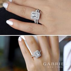 Gabriel NY - Preferred Fine Jewelry and Bridal Brand. Sparking 14k White Gold Emerald Cut Double Halo Engagement Ring with beautiful pave diamonds along the side Find your nearest retailer-> https://www.gabrielny.com/storelocator