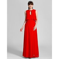 Sheath/Column Jewel Floor-length Chiffon Bridesmaid Dress (710818) – USD $ 99.99
