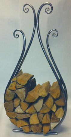 log_basket_modern_hand_forged_steel_teardrop.jpg (520×1000)