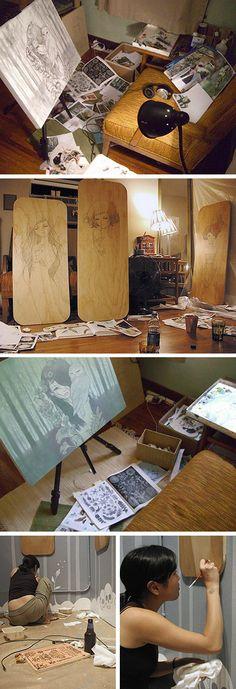Audrey Kawasaki working in her home studio art #workspace.