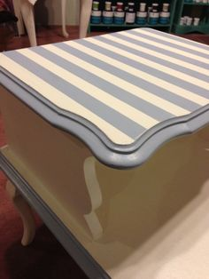 Vintage side table dressed up in Chesapeake Blue and Vintage White.  r3decor by stacey