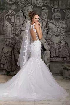 luxury train lace mermaid wedding dress by RoyalWeddingStore
