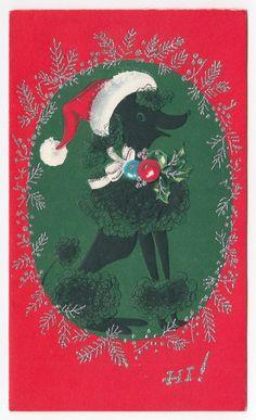 Vintage+Greeting+Card+Christmas+Poodle+Dog+Santa+Hat+Mid-Century+SIlver+Gilt+
